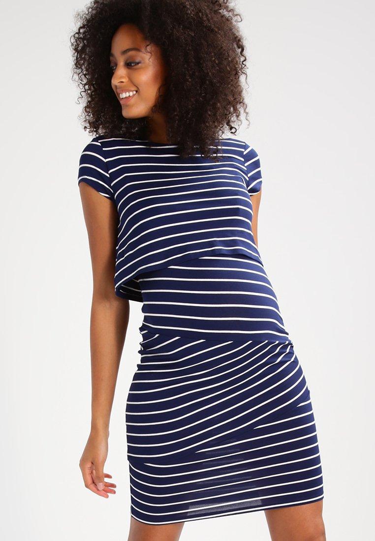 Zalando Essentials Maternity - Jersey dress - dark blue/off white