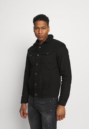 WILBERT - Kurtka jeansowa - black denim/black borg