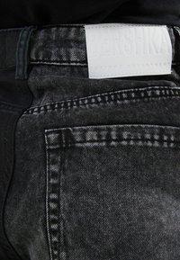 Bershka - MIT KONTRASTEN - Denim shorts - black - 5