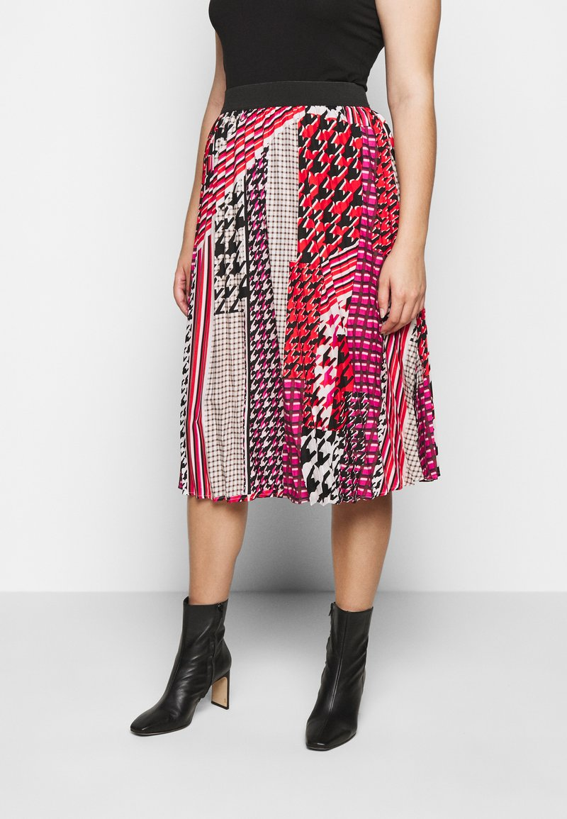 CAPSULE by Simply Be - PRINT PLEAT MIDI SKIRT - Pleated skirt - pink/black