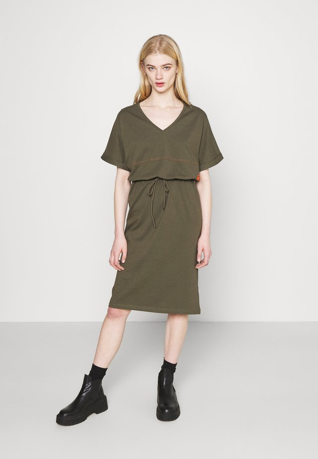 ADJUSTABLE WAIST DRESS - Jerseyjurk - khaki