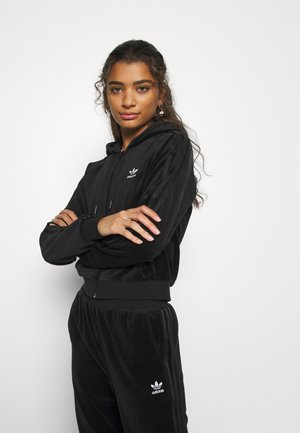 CROP HOOD - Zip-up hoodie - black