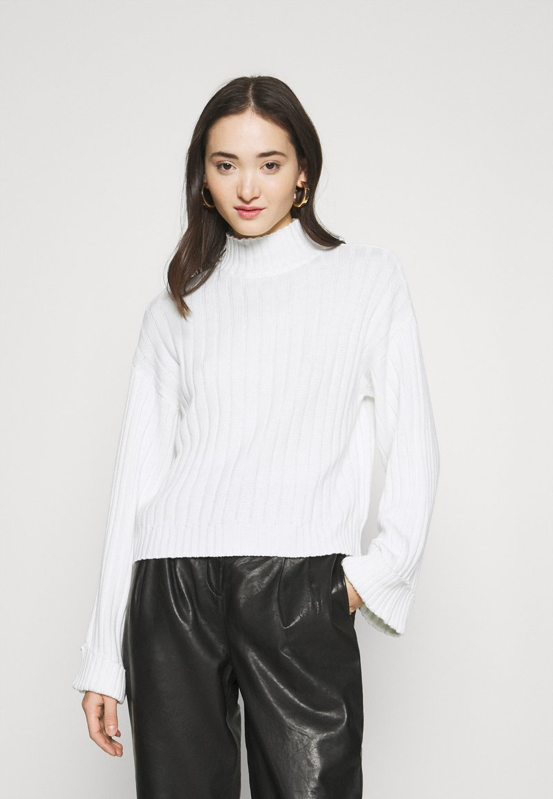 Even&Odd - CROPPED- WIDE RIB JUMPER - Neule - white