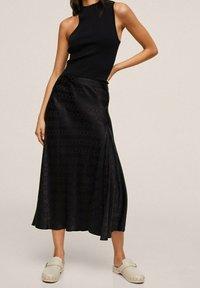 Mango - MIDI - A-line skirt - noir - 0