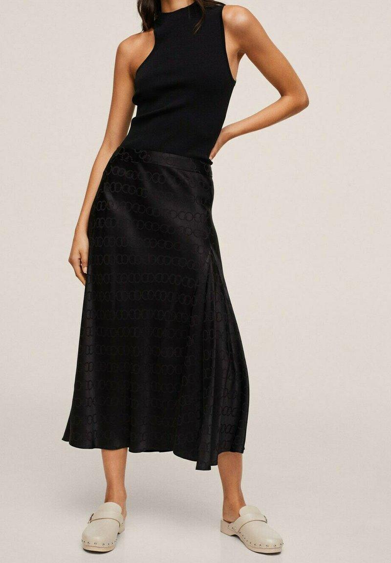 Mango - MIDI - A-line skirt - noir