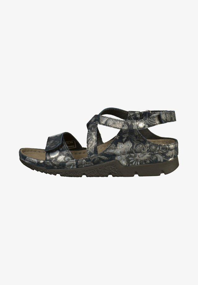 Sandały na koturnie - schwarz/silber