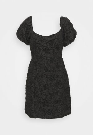 PUFF SLEEVE STRUCTURED MINI DRESS - Cocktailkjole - black brocade
