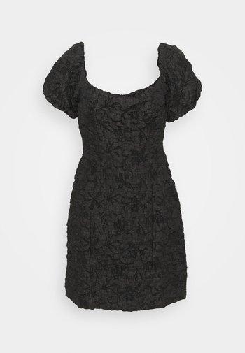 PUFF SLEEVE STRUCTURED MINI DRESS - Cocktailkjoler / festkjoler - black brocade