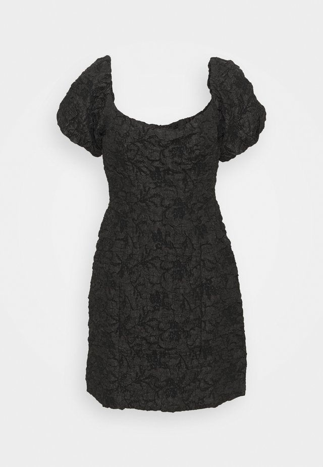 PUFF SLEEVE STRUCTURED MINI DRESS - Juhlamekko - black brocade