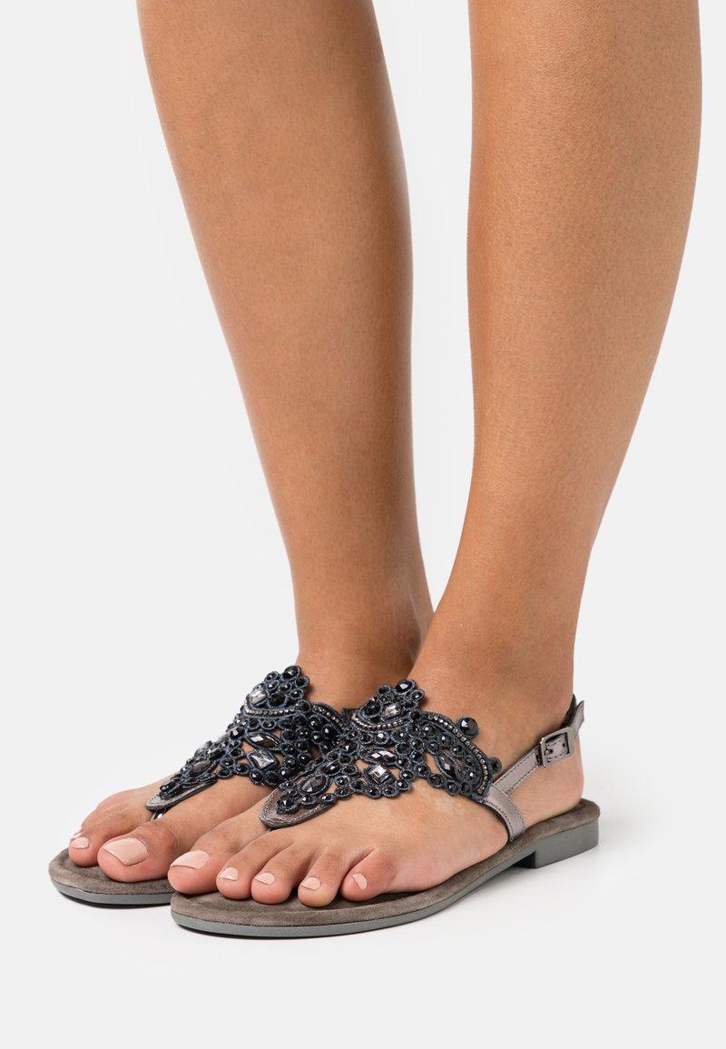 Tamaris - T-bar sandals - pewter