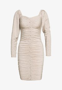 Lost Ink - RUCHED DETAIL BUTTON DOWN DRESS - Day dress - beige - 0