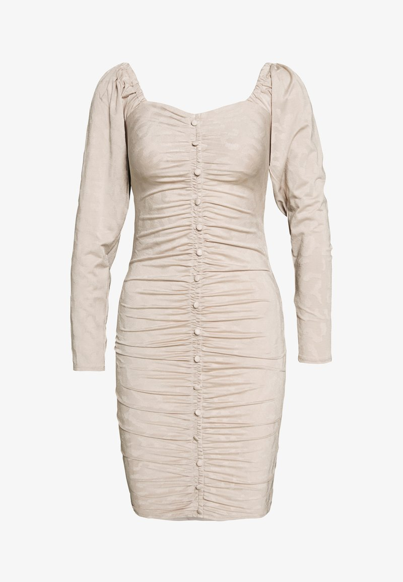 Lost Ink - RUCHED DETAIL BUTTON DOWN DRESS - Day dress - beige