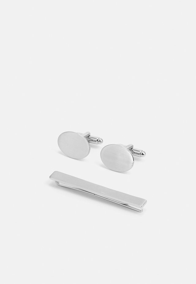OVAL CUFFLINK AND TIE PIN SET - Manschettenknopf - silver-coloured