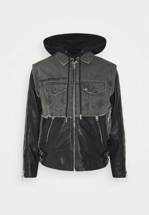 L-IVAN JACKET - Leather jacket - black