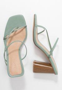 NA-KD - FINE STRAPPY BLOCK HEEL  - T-bar sandals - pastel green - 3