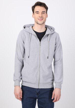 Zip-up sweatshirt - grey mel./orange