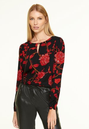 Blouse - black red roses