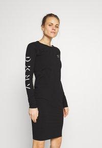 DKNY - LONG SLEEVE CREW NECK DRESS - Jersey dress - black - 0