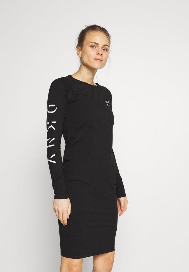LONG SLEEVE CREW NECK DRESS - Vestito di maglina - black
