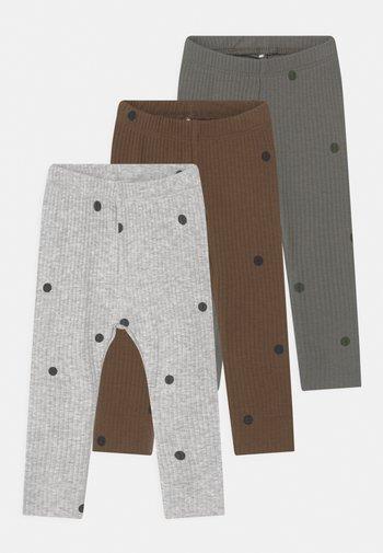 NBMDANIEN 3 PACK - Leggings - Trousers - castor gray/desert palm/grey
