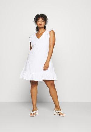 SLEEVELESS FRILL MINI DRESS - Day dress - white