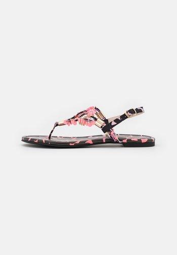 VEGAN REBECCA - T-bar sandals - black/pink