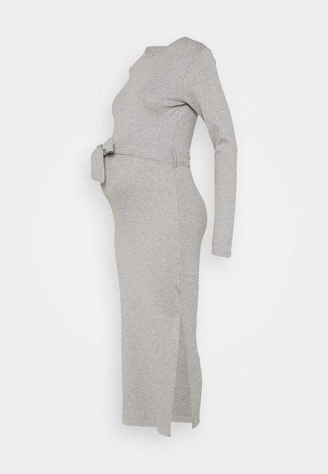 MATERNITY BELTED SPLIT SIDE MIDI DRSS - Vestido ligero - grey marl