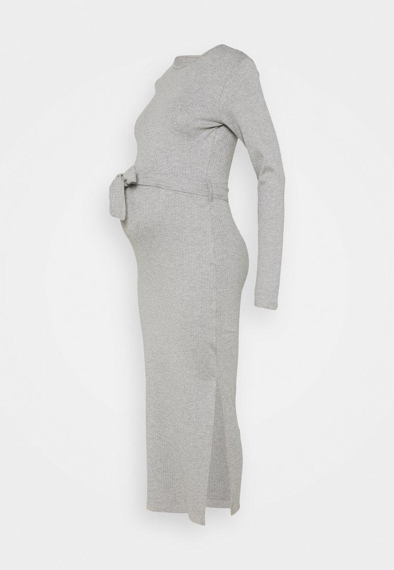 Missguided Maternity - MATERNITY BELTED SPLIT SIDE MIDI DRSS - Jersey dress - grey marl