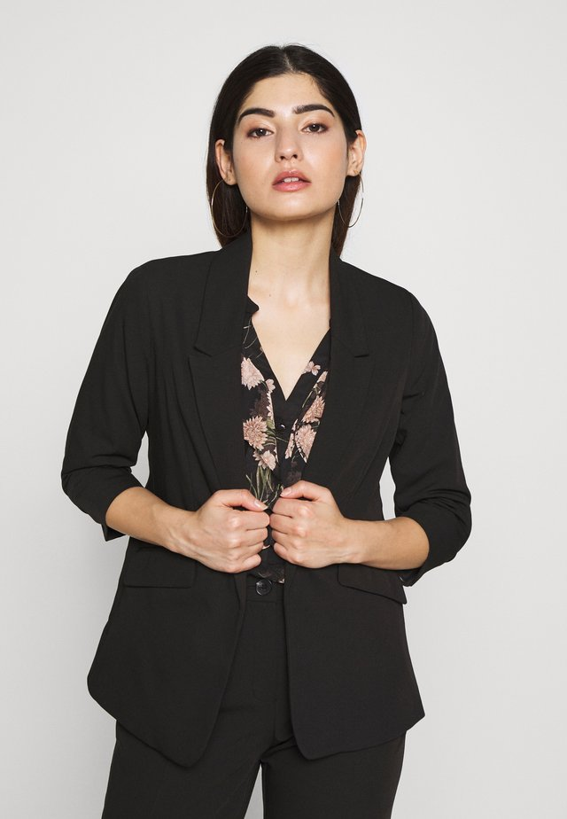 EDGE TO EDGE ROUCHED SLEEVE JACKET - Blazer - black