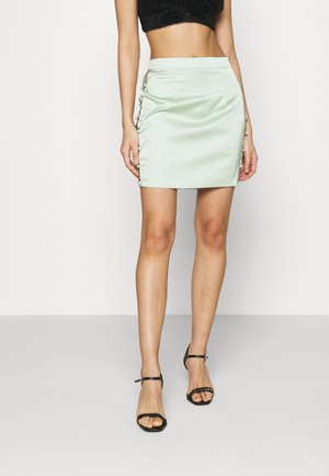 BUTTON DOWN SIDE MINI SKIRT - Mini skirt - sage