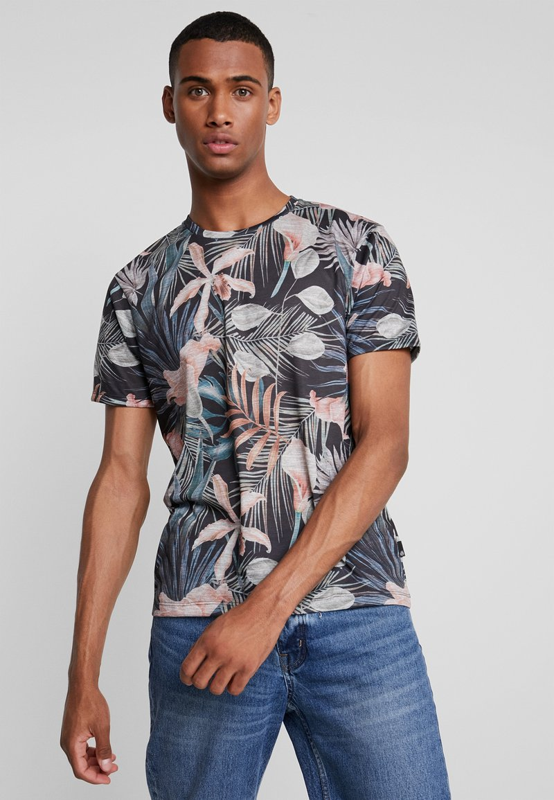 Burton Menswear London - TROP FLORA - Print T-shirt - navy
