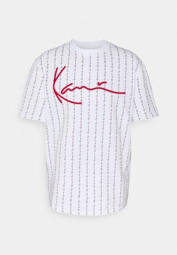 SIGNATURE LOGO TEE - T-shirt con stampa - white