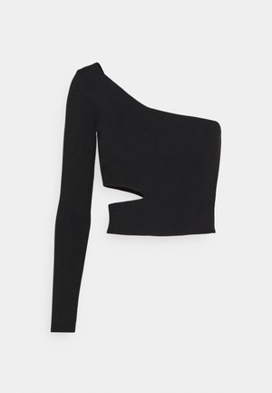 CUT OUT ONE SHOULDER - Long sleeved top - black