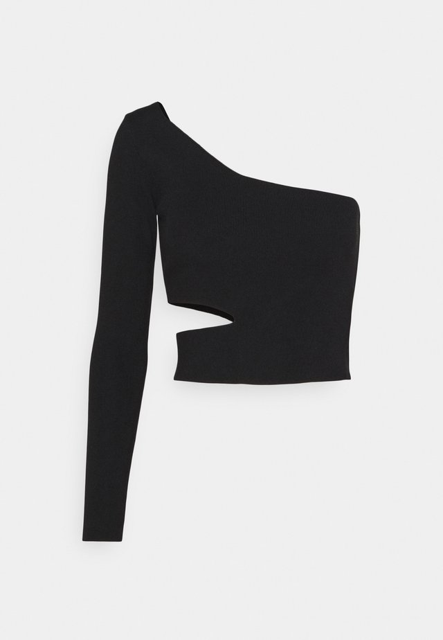 CUT OUT ONE SHOULDER - Langærmede T-shirts - black