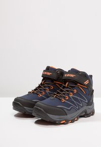 Hi-Tec - BLACKOUT MID WP JR - Hiking shoes - navy/orange - 3