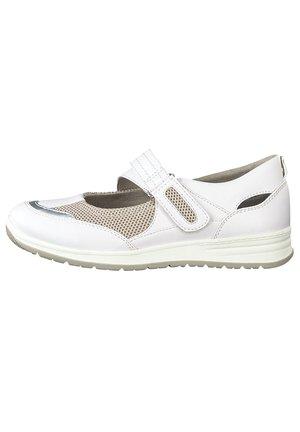 JANA - Ankle strap ballet pumps - white/grey