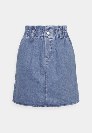 PAPERBAG DENIM SKIRT - Minifalda - used mid stone blue denim