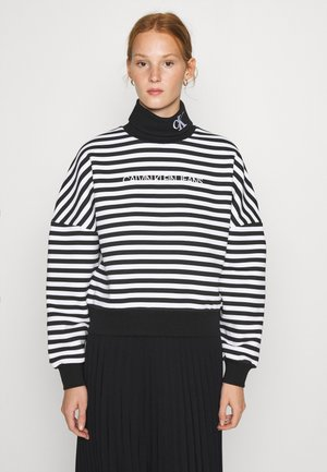STRIPE ROLL NECK - Sweatshirt - black/bright white