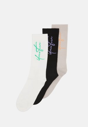 YRTRN LOGO 3 PACK - Ponožky - black/beige/off-white