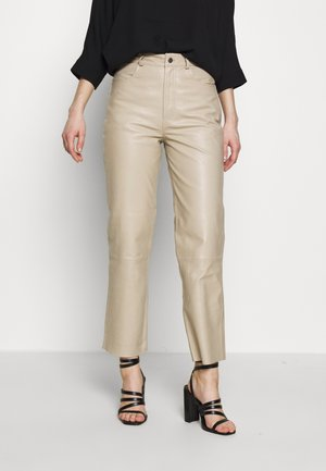 HIGH WAIST - Leather trousers - silver lining