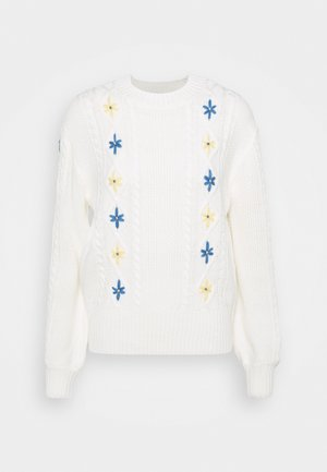 EMBROIDERED JUMPER - Jumper - cream