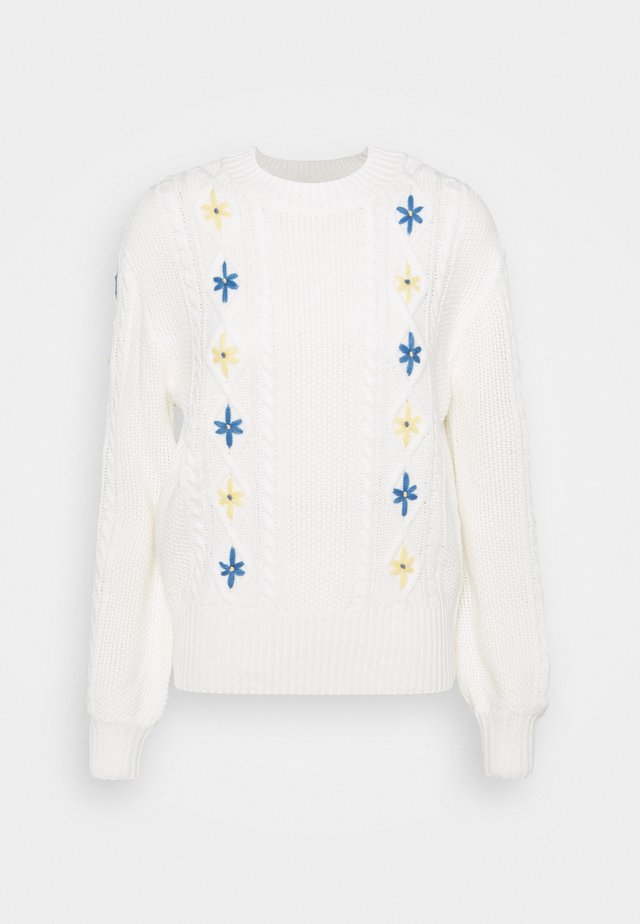EMBROIDERED JUMPER - Jersey de punto - cream