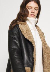 STUDIO ID - KATHERINE CONTRAST POCKET COAT  - Leather jacket - black/cream - 5