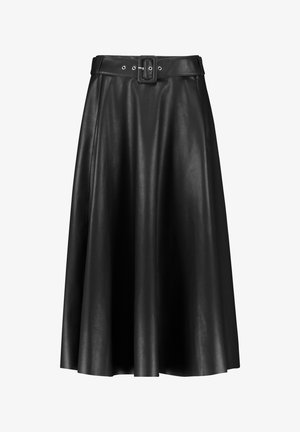 G LANG IN LEDER-OPTIK - A-line skirt - black