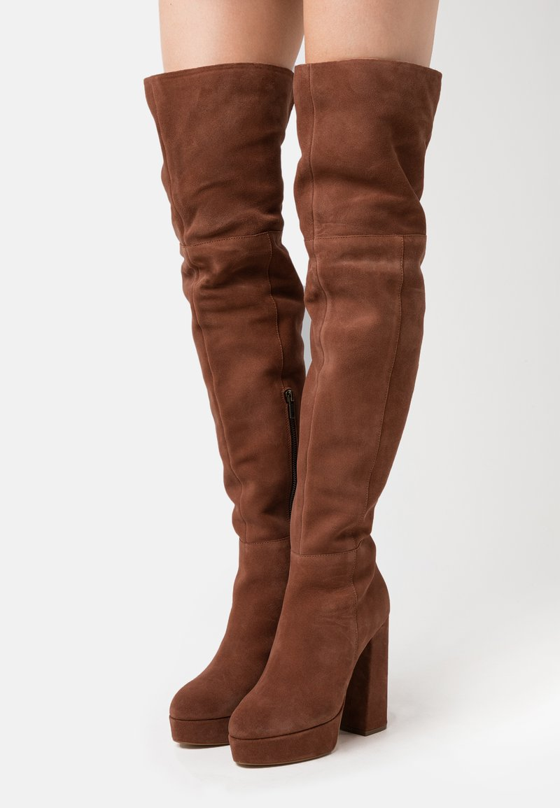Even&Odd Wide Fit - LEATHER - High heeled boots - rust