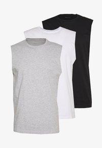 3 PACK - T-shirt - bas - grey/white/black