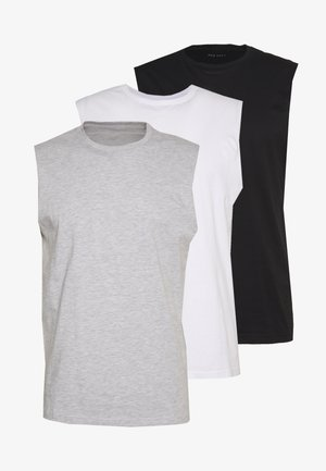 3 PACK - Jednoduché triko - grey/white/black