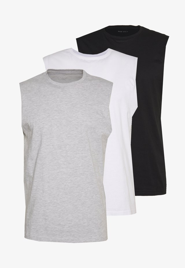 3 PACK - T-shirt basic - grey/white/black