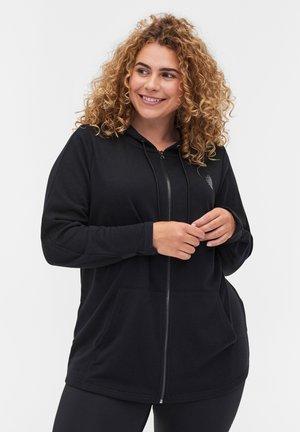 MIT REISSVERSCHLUSS UND KAPUZE - Sweater met rits - black