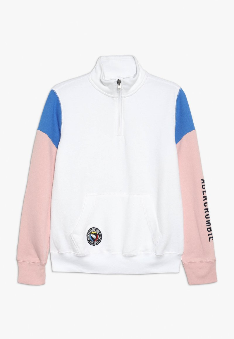 Abercrombie & Fitch - QUARTER ZIP - Sweatshirt - white
